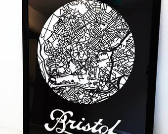 Bristol Map - City Map - Housewarming - Unique Gift - Laser Cut - Minimal
