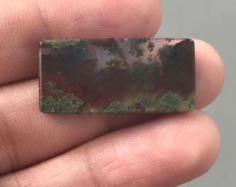 Beautiful Scenic Moss Agate 27 x 13 mm