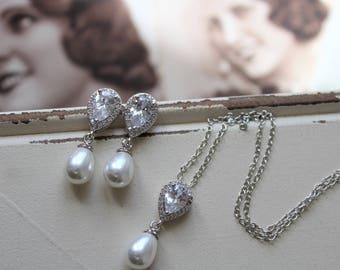 Art Deco Earrings,  Necklace set , Vintage Style Crystal Pearl Earrings, Wedding Earrings,  Zircon  Earrings,  Stud Earrings, Great Gatsby