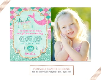Pink Mermaid Thank you Under the sea Gold Teal 1st Birthday Favors Photo Printable DIY
