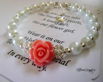 Pearl Flower Girl Bracelet, Pearl Childs Bracelet, Pearl Kids Bracelet, Pearl Childrens Bracelet, Pearl Girls Bracelet, Flower Girl Jewelry