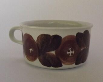 Arabia Finland – Rosmarin / Brown Anemone – Flat Coffee Cup - 1970s - Ulla Procope - Handpainted - Scandi style