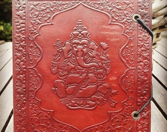 Ganesha leather notebook, writing book, leather book