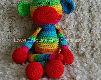 Rainbow Monkey Amigurumi Stuffed Animal Toy Crochet