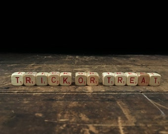Trick or Treat Sign, Vintage Halloween, Letter Blocks, Scrabble Blocks, Scrabble Cubes, Letter Tiles, Holiday Decor