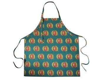 Green Conker Cotton Adult Apron Hand Drawn Design
