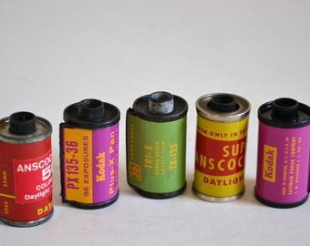 Vintage Film Canister / Can / Cassette / Spool Lot of 5 Kodak, Ansco