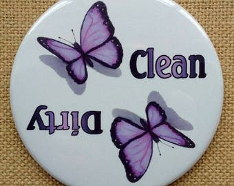 Dishwasher Magnet, Dirty or Clean, Big 3.5-Inch, Purple Butterflies, Insects, From Original Color Pencil Art, Kitchen Gadget