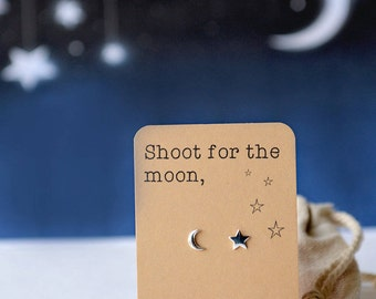 Shoot for the moon, moon and star earrings