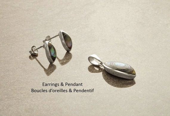 Minimalist Abalone Earrings and Pendant Set, Sterling Silver, Blue Green Paua Shell with Rainbow Highlights, Almond Shape,  Modern Jewelry