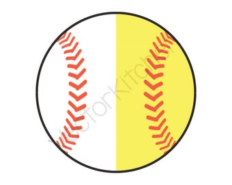 Split Half Baseball / Softball Ball Cutting Template SVG EPS Cricut Silhouette Commercial Vector Home Run, Bunt, Steal, Bases, Take me out