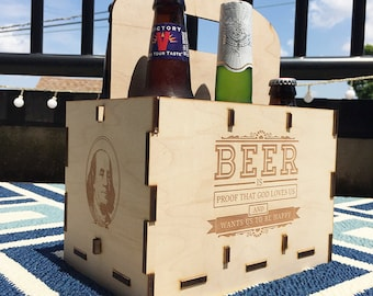 "Ben Franklin Beer Tote ""Beer is proof that God loves us and wants us to be happy"""