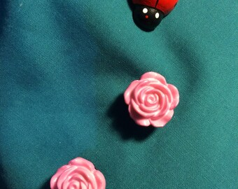 Cute PINK ROSE Roses Flower Clog Shoe Charms
