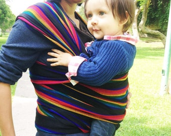 Baby wrap carrier Mexican Black with Rainbow stripes 5,5 yards wrap