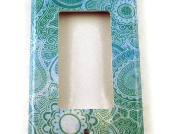 Rocker Light Switch Cover  Wall Decor Switch Plate Switchplate in  Teal Paisley  (219R)