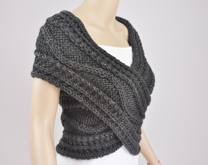 Hand knit sweater vest Cross Sweater Capelet Neck warmer scarf Charcoal / dark grey-ready to ship