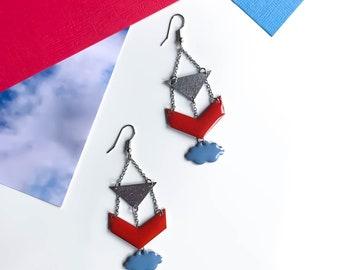 Dangle earrings long earrings MILA /Boucles coral and blue sky / clouds & chevrons in 4 colors to choose/IIWAB Creations