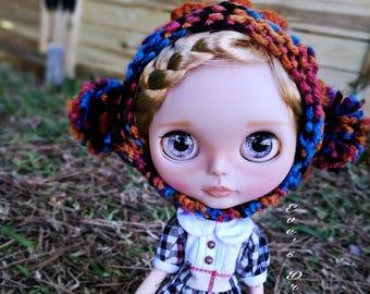 Wool Beanie Blythe pompoms, Blythe Wool hat
