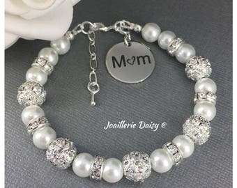Mother's Day Gift for Mother of the Bride Bracelet Mom Bracelet Gift from Daughter Mother's Birthday Gift Idea for Mom Jewelry Pearl Jewelry