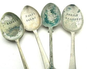 Funny Vegetable Garden Labels, Large Hand Stamped Mismatched Vintage Serving Spoons, Rustic Plant Markers, Gardener Gift