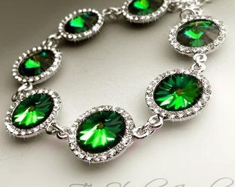 Emerald Moss Green Rivoli Swarovski Crystal Bracelet Bridesmaid Wedding Gift with Rhinestone Edge- SONIA