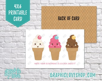 Digital 4x6 Kawaii Ice Cream Cone Birthday Card - Folded or Postcard | High Resolution 300dpi JPG Files, Instant Download, Ready to Print