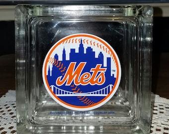 New York Mets Glass Block Bank