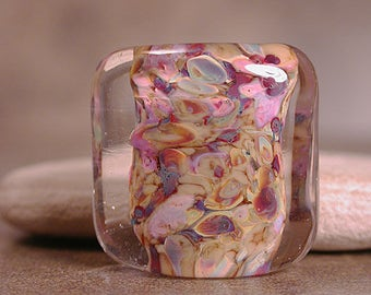 Art Glass Focal Bead, Square Nugget Lampwork, Divine Spark Designs, SRA