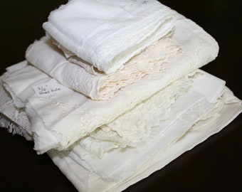Vintage Lace Lot Extra Wide Insertion Lace and Fabric, 7 Pieces, Doll Clothing, Sewing