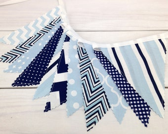 Baby Boy Nursery Bunting Fabric Bunting Fabric Banner Baby Shower Photography Props Sky Blue Navy Blue Chevron Dots