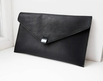 Leather envelope clutch bag, Simple black clutch