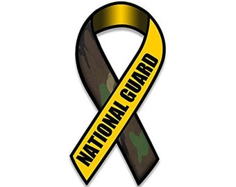Ribbon Shaped National Guard Sticker (Camo Military Army Decal)