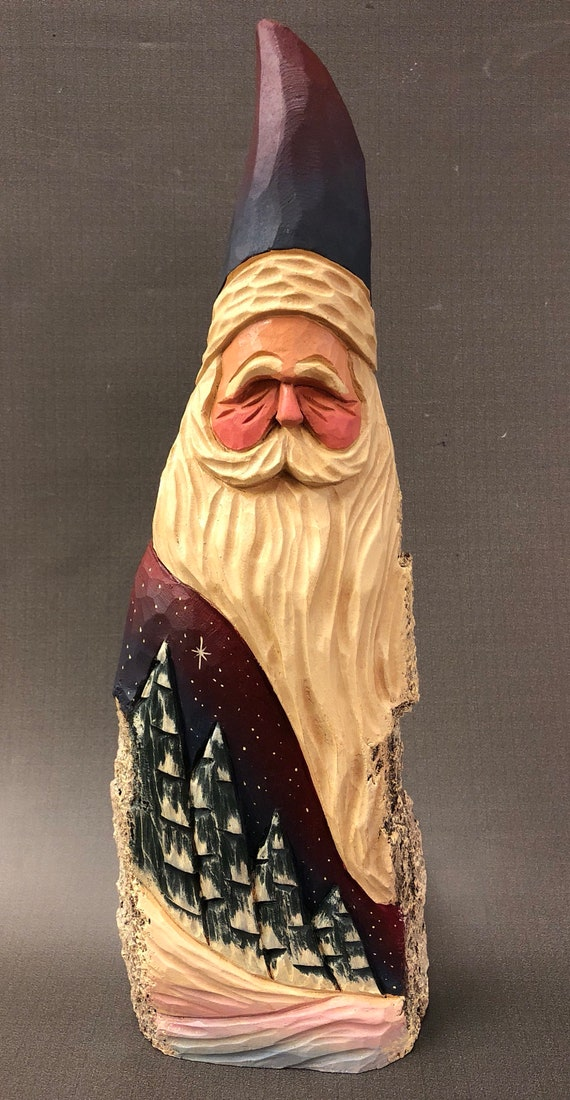 HAND carved original large Santa and trees from 100 year old Cottonwood Bark.