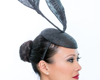 Lightweight metal black hat with two waves -- artful and architectural choice for the Kentucky Derby or any hat-oriented gala or party
