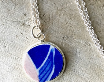 Recycled China Jewelry- Broken China, Recycled Dish Jewelry, Broken China Jewelry, Recycled China Pendant, Blue Necklace