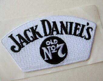 Vintage Jack Daniel's Whiskey Old No. 7 Black & White Embroidered Souvenir Jacket Patch