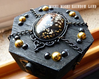 LAST ONE! Gold Chinese Inspired Gothic Mini Box Chest