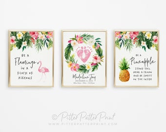 Flamingo, Pineapple Nursery Art, Tropical Floral Wreath Print Set, Palms Baby Room Decor, Watercolor Baby Footprints,  8x10 inches UNFRAMED