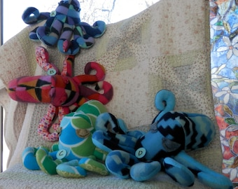 Soft animal, stuffed toy, octopus, handmade, one of a kind