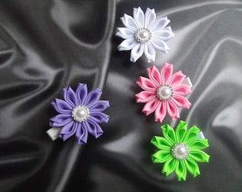 flower hair barrettes japanese hair accessories kanzashi hair flower gift ribbon flowers ribbon flower hair clip set of 4 hair clips