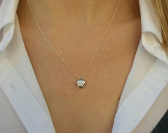Floating diamond necklace, 925 sterling silver necklace, Cubic zirconia, CZ diamond, wedding necklace, anniversary gift, bridesmaid gift