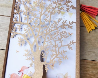 DO share baby - tree with little forest animals pattern - laser cut invitation baby boy baptism or birth