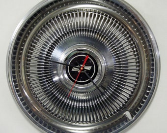 Chevy Hubcap Clock - 1970 - 1975 Chevrolet Monte Carlo Chevelle Impala Wall Clock - 1971 1972 1973 1974