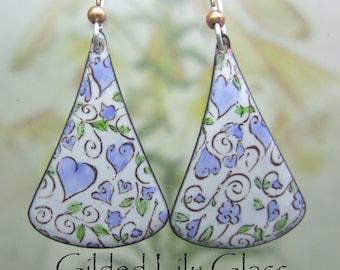 Queen of Hearts Blue Enamel Earrings, Copper Enamel Jewelry handmade in North Carolina