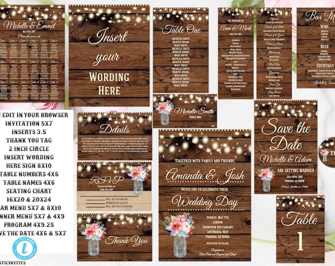 Spring Blue Pink Green Boho Floral Rustic Wedding Invitation Template, Country Wedding Invitation, Digital file, Printable, Wedding Template
