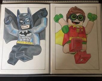 LEGO BATMAN & ROBIN print A4 on cartridge paper