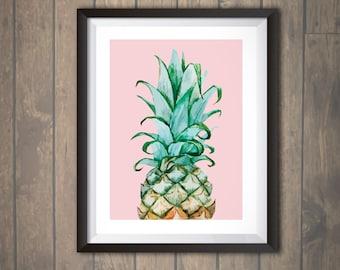 Watercolor Pineapple Print Pineapple Wall Art Pineapple Decor Nursery Wedding Personalized print
