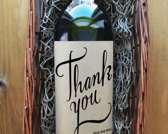 Thank You Wine Labels - Wedding Wine Label - Wedding Wine Bottle Label - Pack of 4