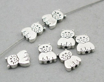 Cat Charms Beads Antique Silver 8pcs beads 8X11mm BD0081S