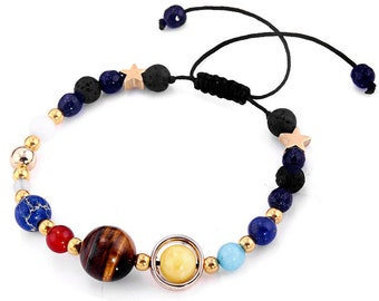 Bracelet Galaxy Solar System Eight Planets Theme Natural Stone Beaded Gift Charm Jewelry